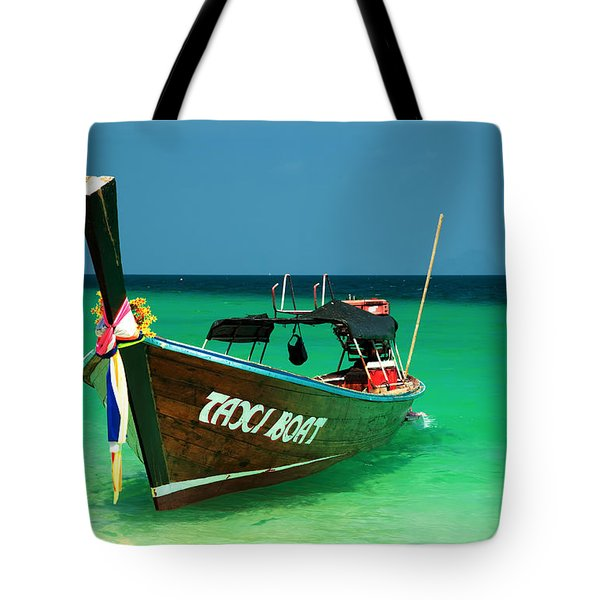 Taxi Boat Tote Bag by Adrian Evans