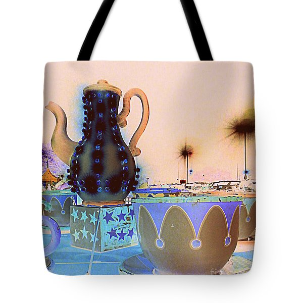 Tote Bag featuring the photograph Tea Pot And Cups Ride With Inverted Colors by Renee Trenholm