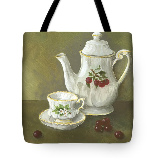 Tote Bag featuring the painting Tea With Cherries  by Nancy Patterson