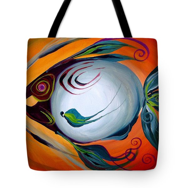 Teal Fish With Orange Tote Bag