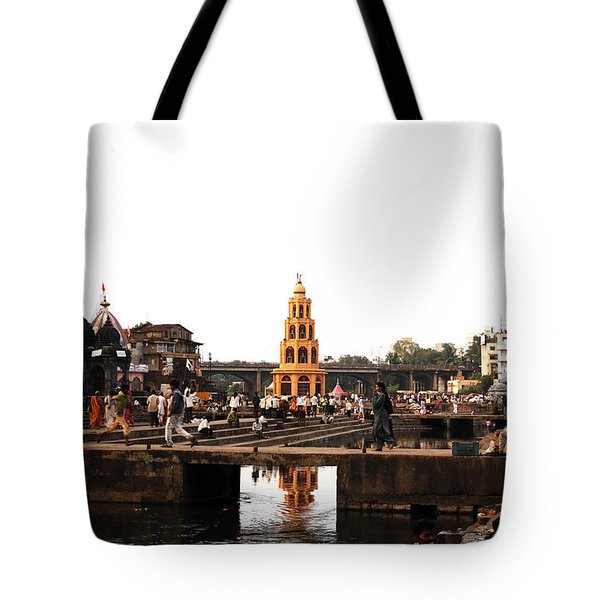 temple and the river in India Tote Bag by Sumit Mehndiratta