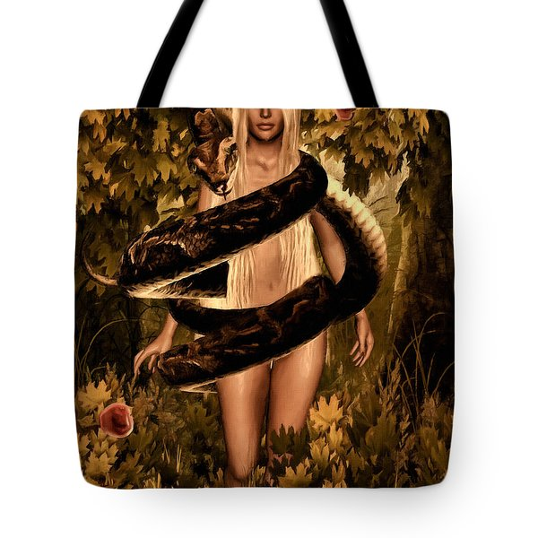 Temptation And Fall Tote Bag by Lourry Legarde