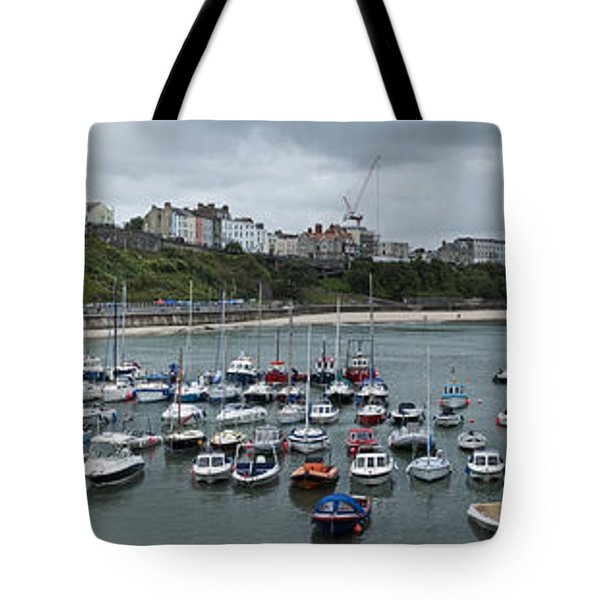 Tote Bag featuring the photograph Tenby Harbour Panorama by Steve Purnell