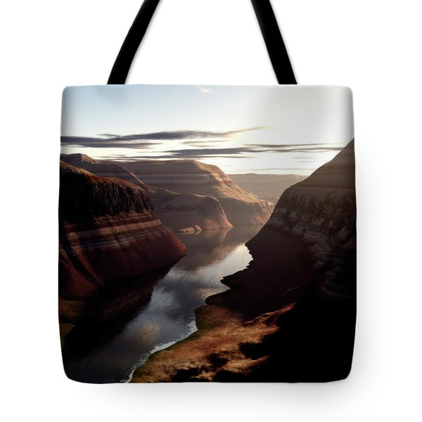 Terragen Render Of Trail Canyon Tote Bag by Rhys Taylor