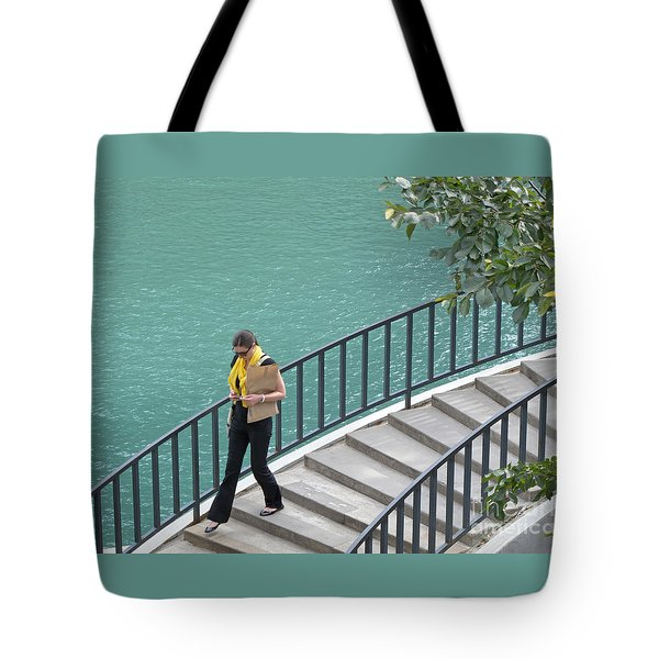Texting As She Goes Tote Bag by Ann Horn