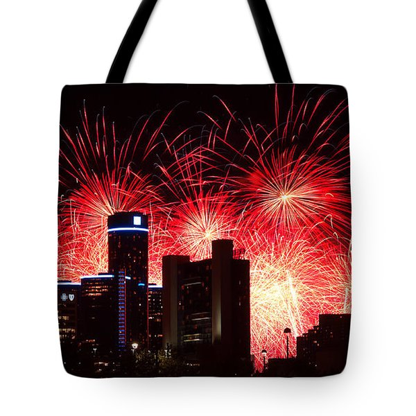 Tote Bag featuring the photograph The 54th Annual Target Fireworks In Detroit Michigan - Version 2 by Gordon Dean II