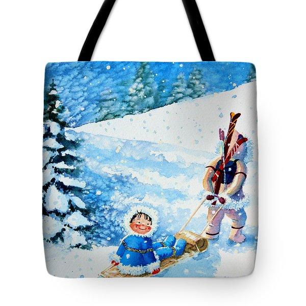 The Aerial Skier - 1 Tote Bag by Hanne Lore Koehler