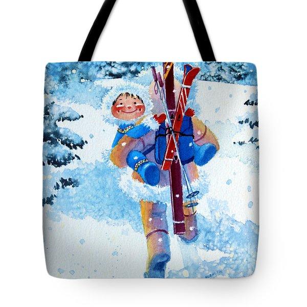 The Aerial Skier - 3 Tote Bag by Hanne Lore Koehler