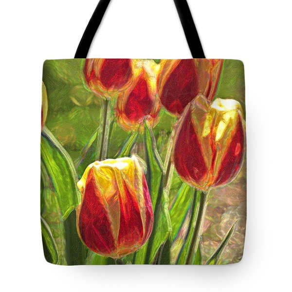 Tote Bag featuring the photograph The Artful Tulips by Nancy De Flon