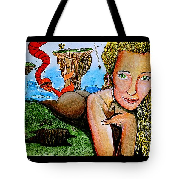 Tote Bag featuring the mixed media The Bartender by eVol  i