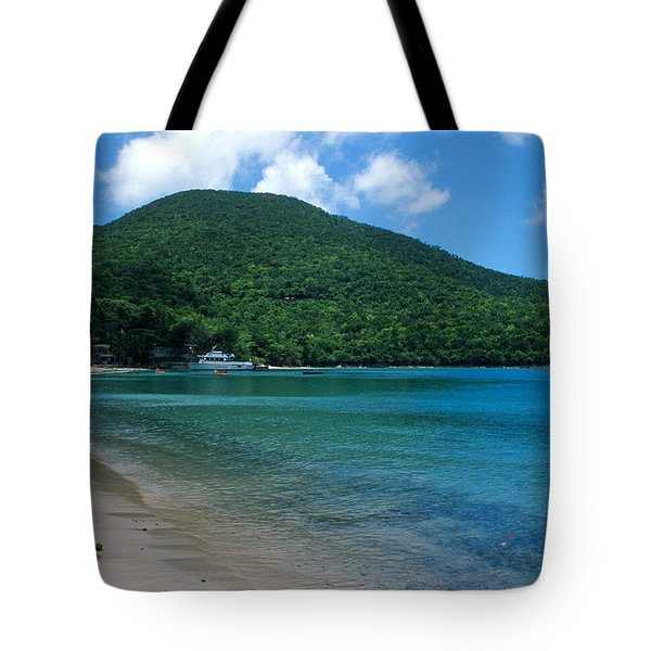 The Beach At Caneel Bay Tote Bag by Kathy Yates