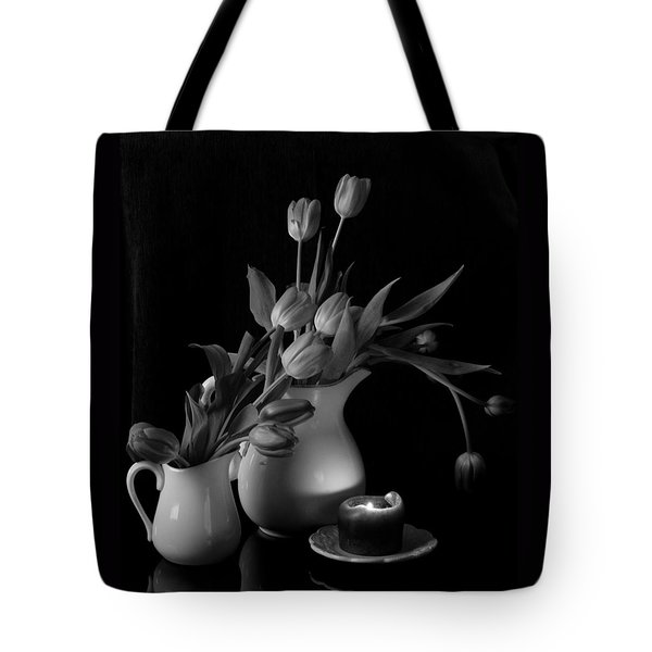 The Beauty Of Tulips In Black And White Tote Bag