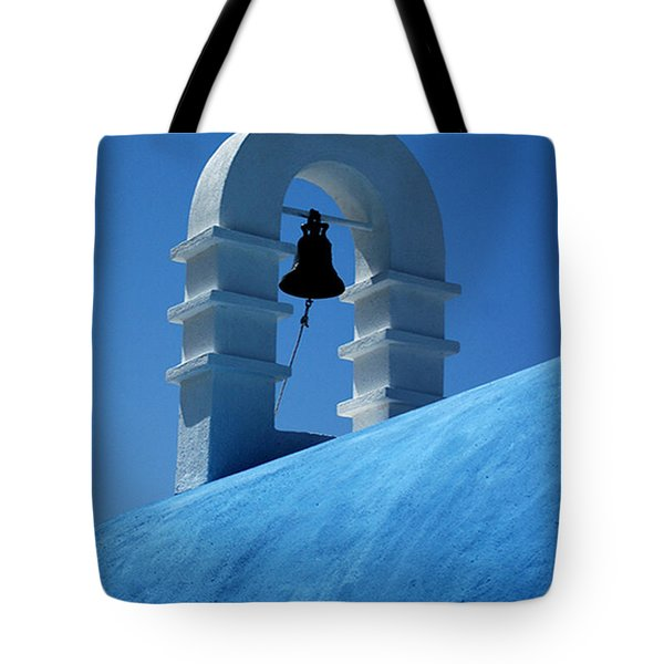 Tote Bag featuring the photograph The Bell Tower In Mykonos by Vivian Christopher