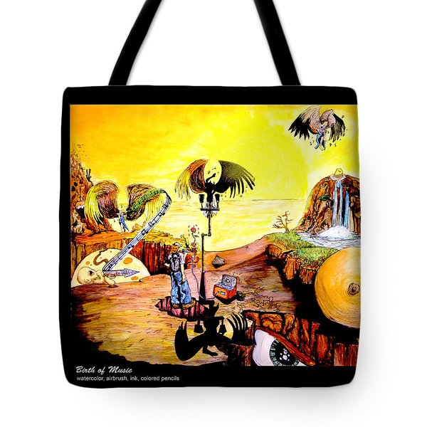 Tote Bag featuring the painting The Birth Of Music by eVol  i