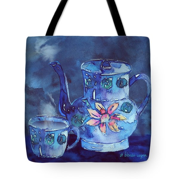 The Blue Teapot Tote Bag by Arline Wagner