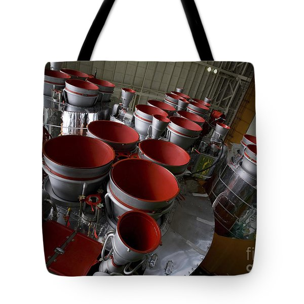 The Boosters Of The Soyuz Tma-14 Tote Bag by Stocktrek Images
