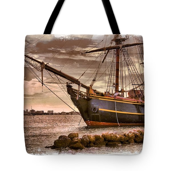 The Bow Of The Hms Bounty Tote Bag by Debra and Dave Vanderlaan