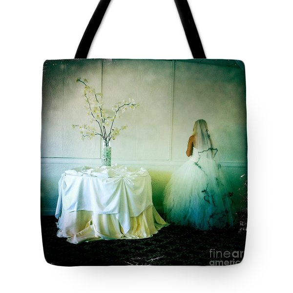 Tote Bag featuring the photograph The Bride Takes A Moment by Nina Prommer