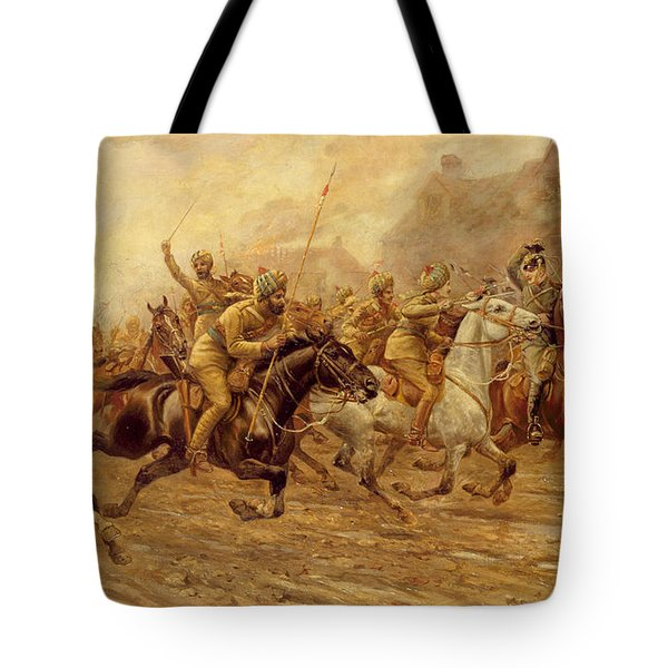 The Charge Of The Bengal Lancers At Neuve Chapelle Tote Bag by Derville Rowlandson