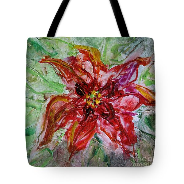 Tote Bag featuring the painting The Christmas Poinsettia by Dragica  Micki Fortuna