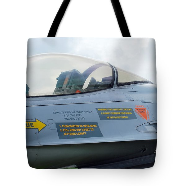 The Cockpit Of An F-16 Fighting Falcon Tote Bag by Luc De Jaeger