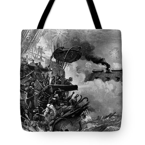 The Confederate Ironclad Merrimack Tote Bag by Photo Researchers