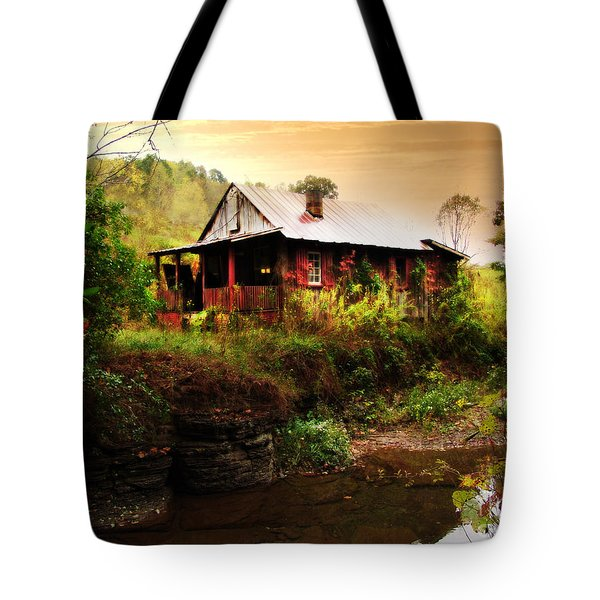 The Cottage By The Creek Tote Bag by Lj Lambert