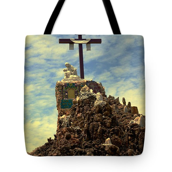 The Cross IIi In The Grotto In Iowa Tote Bag by Susanne Van Hulst