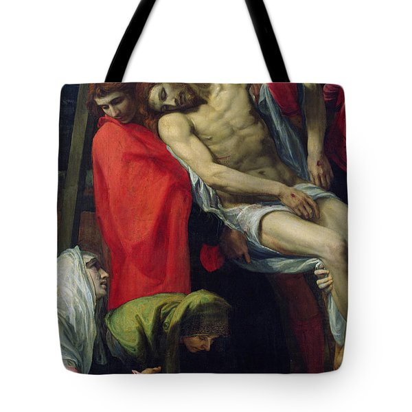 The Descent From The Cross Tote Bag by Bartolome Carducci