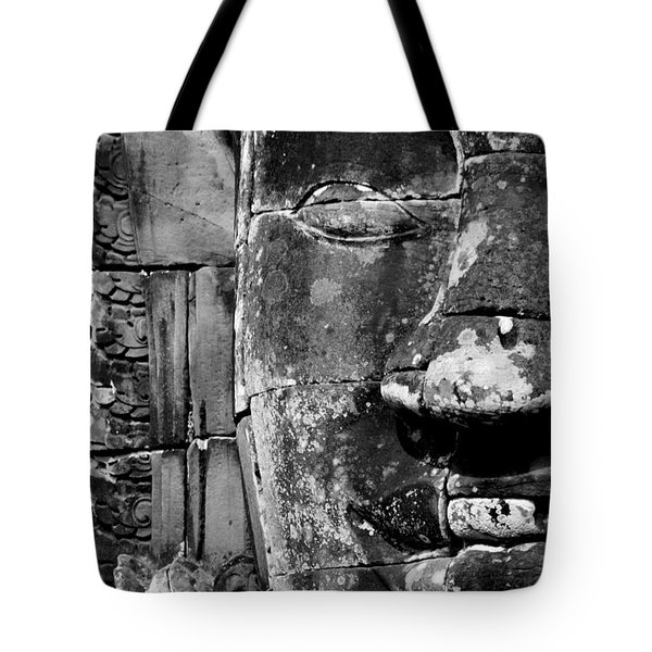 Tote Bag featuring the photograph The Face Of Angkor by Nola Lee Kelsey