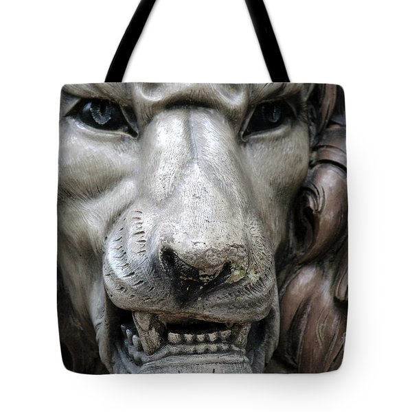 Tote Bag featuring the photograph The Fierce Lion  by Kathy  White