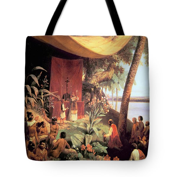 The First Mass Held In The Americas Tote Bag by Pharamond Blanchard
