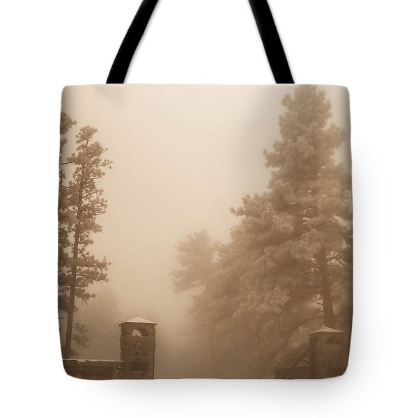 Tote Bag featuring the photograph The Fog by Shannon Harrington