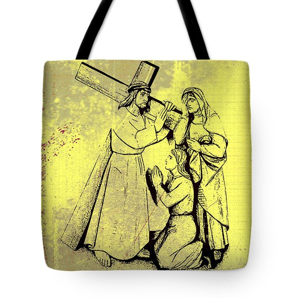 The Fourth Station Of The Cross - Jesus Meets His Mother Tote Bag by Bill Cannon
