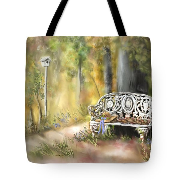 Tote Bag featuring the painting The Garden Bench by Bonnie Willis