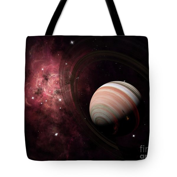 The Gas Giant Carter Orbited By Its Two Tote Bag by Brian Christensen