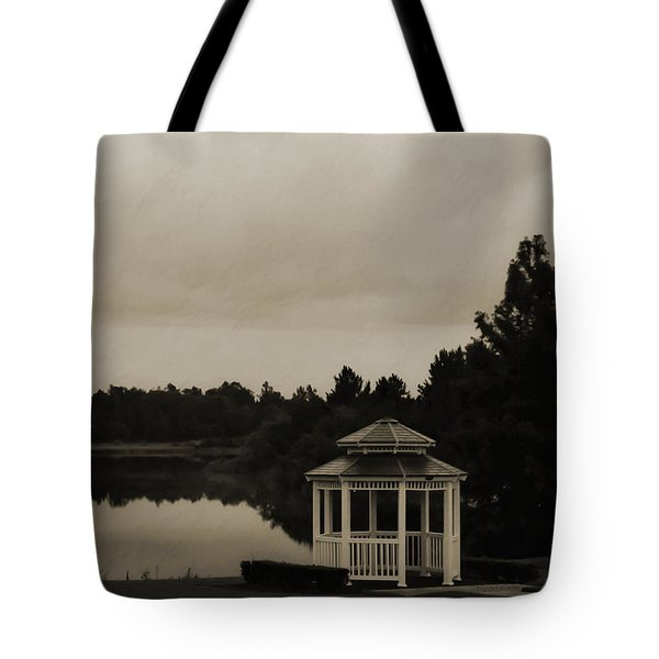 Tote Bag featuring the photograph The Gazebo At The Lake by DigiArt Diaries by Vicky B Fuller