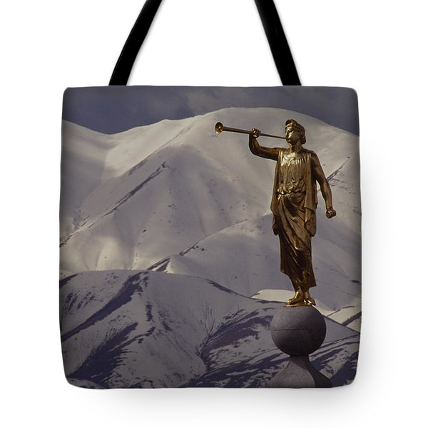 The Gilded Statue Of The Angel Moroni Tote Bag by James P. Blair