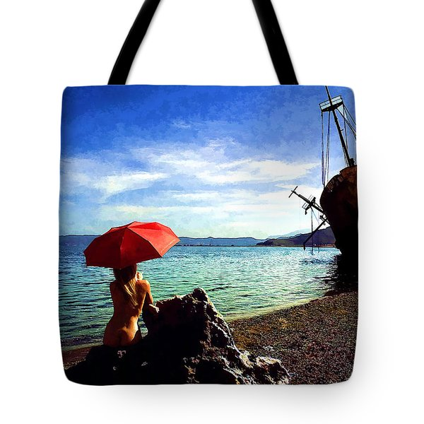 The Girl And The Shipwreck Tote Bag