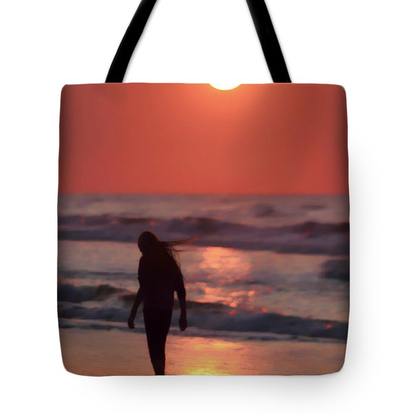 The Girl On The Beach Tote Bag