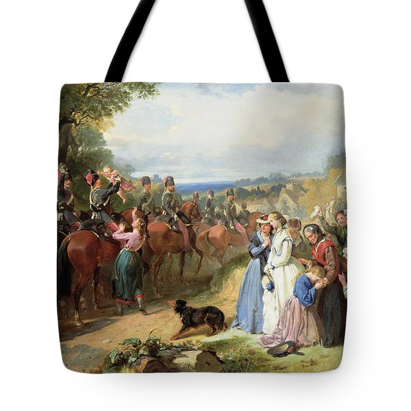 The Girls We Left Behind Us - The Departure Of The 11th Hussars For India Tote Bag by Thomas Jones Barker