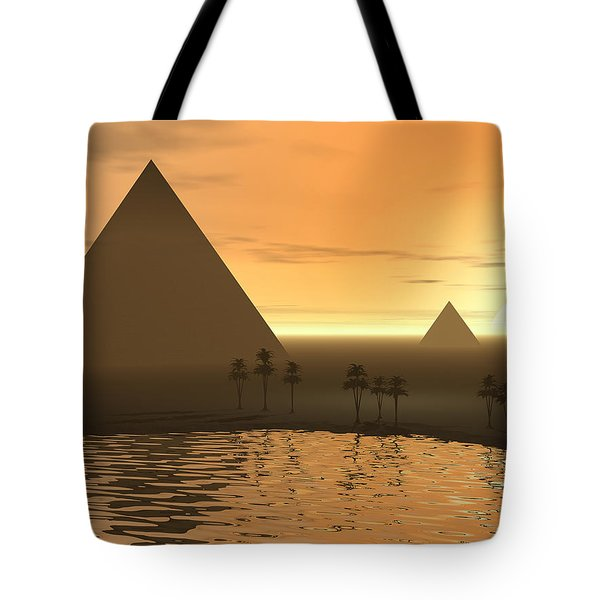 Tote Bag featuring the digital art The Giza Necropolis by Phil Perkins