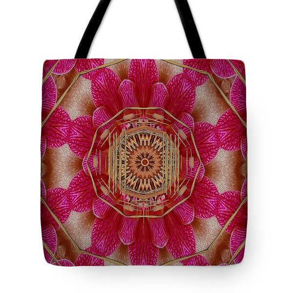 The Golden Orchid Mandala Tote Bag