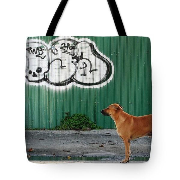 Tote Bag featuring the photograph The Graffiti Artist by Nola Lee Kelsey
