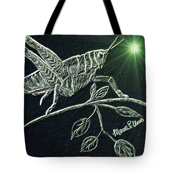 Tote Bag featuring the drawing The Grasshopper by Maria Urso