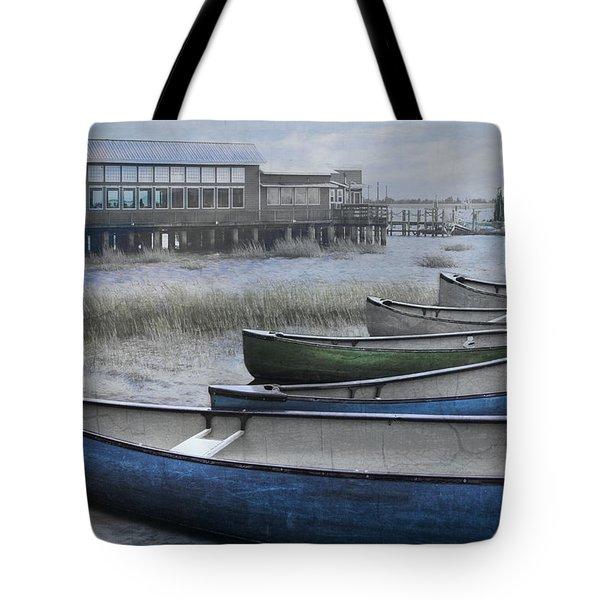 The Green Canoe Tote Bag by Debra and Dave Vanderlaan