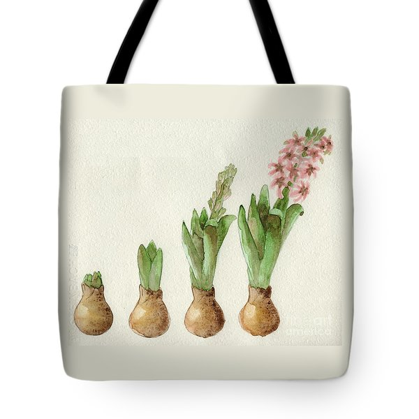 Tote Bag featuring the painting The Growth Of A Hyacinth by Annemeet Hasidi- van der Leij