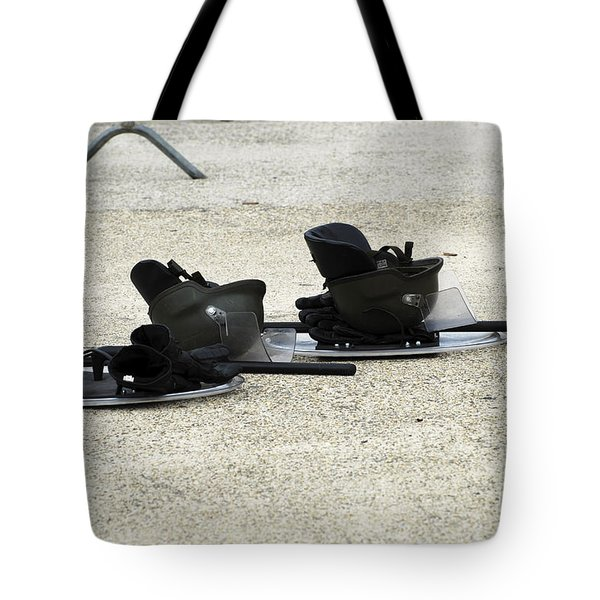 The Helmet, Shield And Baton Used Tote Bag by Luc De Jaeger