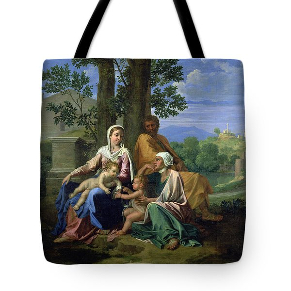 The Holy Family With Ss John Elizabeth And The Infant John The Baptist Tote Bag by Nicolas Poussin