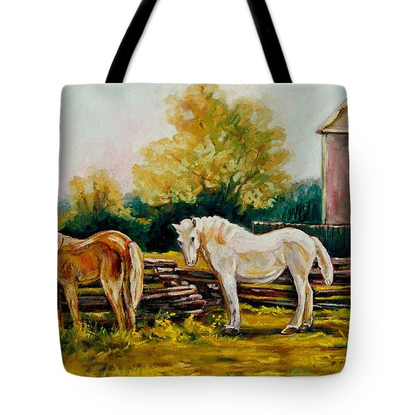 The Horse Ranch Eastern Townships Quebec Tote Bag by Carole Spandau